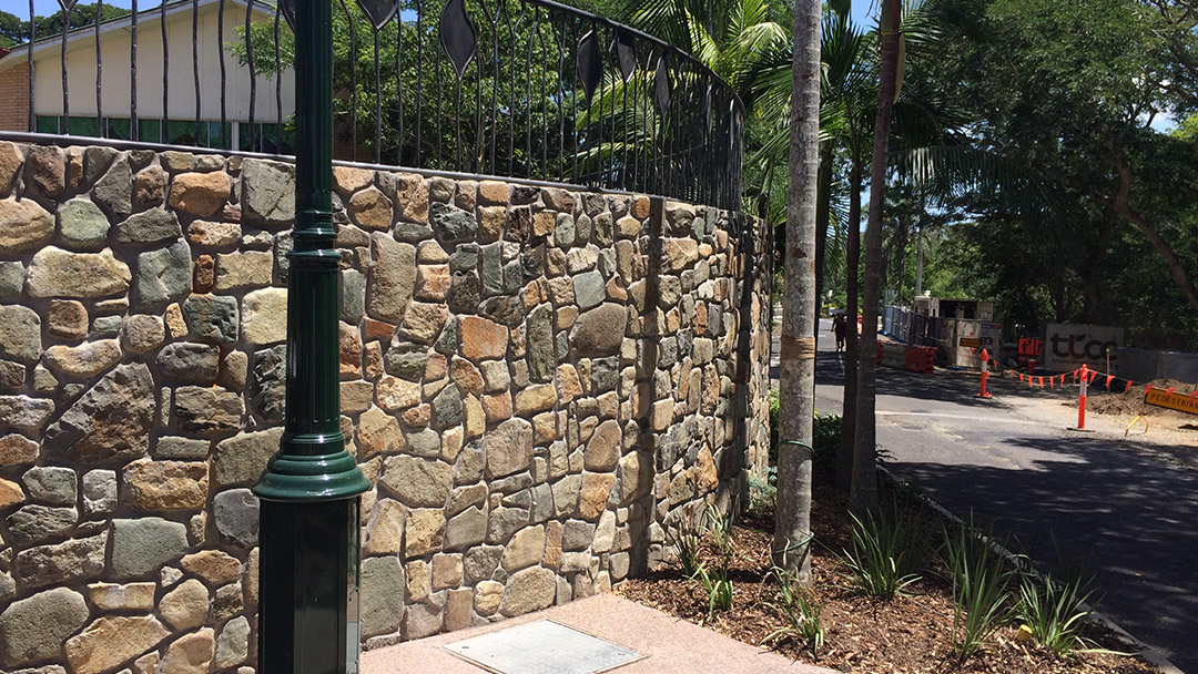 Palmwoods Town Square rock wall