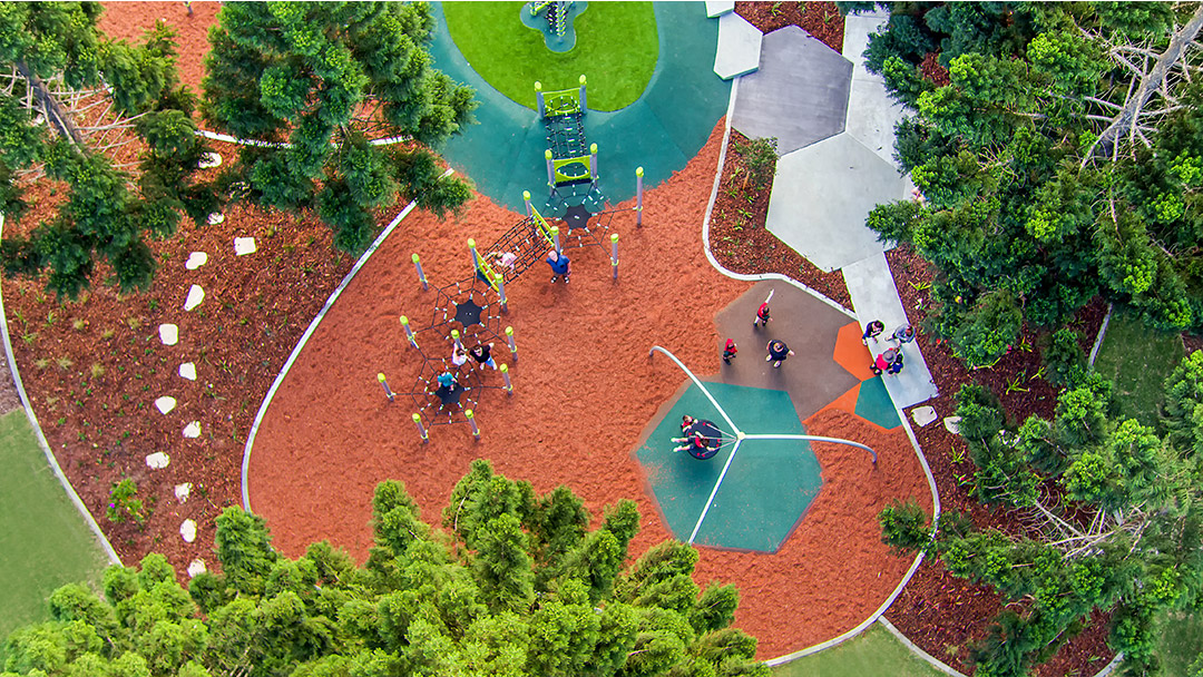 Pine Rivers Park aerial view of playground