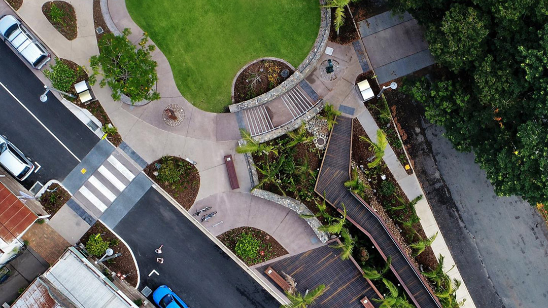aerial view of Palmwoods Town Square