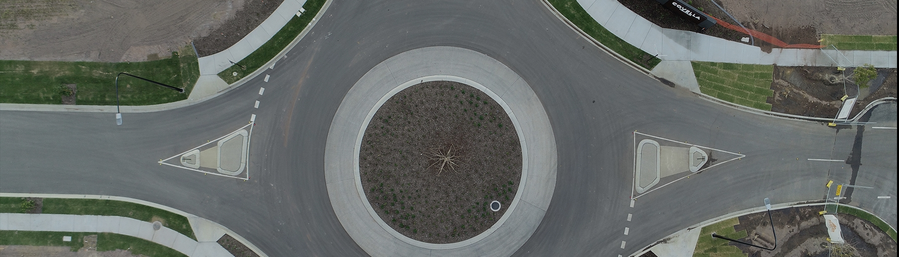 aerial view of roundabout